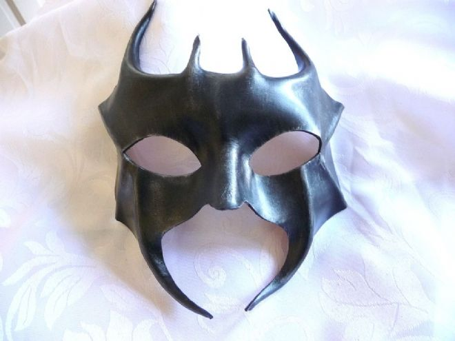Mens Genuine Handmade Italian Black Leather Diablo Mask 1 (WILL FIT OVER GLASSES)